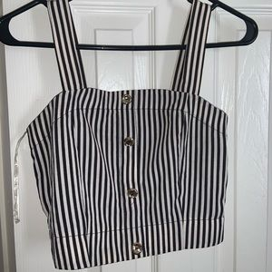 Black and white striped crop too